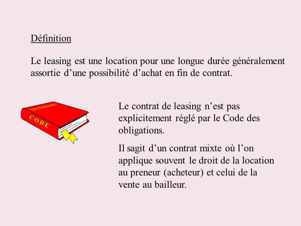 Définition Le leasing est une location pour une longue durée généralement assortie dune possibilité dachat en fin de contrat. Le contrat de leasing ne