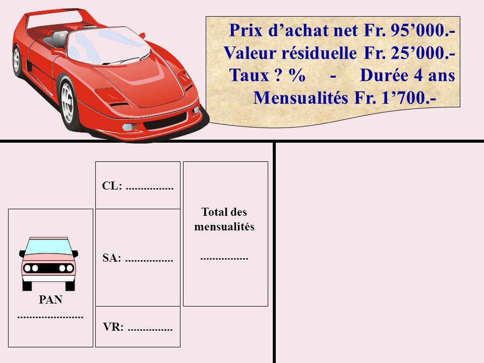 Prix dachat net Fr. 95000.- Valeur résiduelle Fr. 25000.- Taux ? % - Durée 4 ans Mensualités Fr. 1700.- PAN...................... SA:................