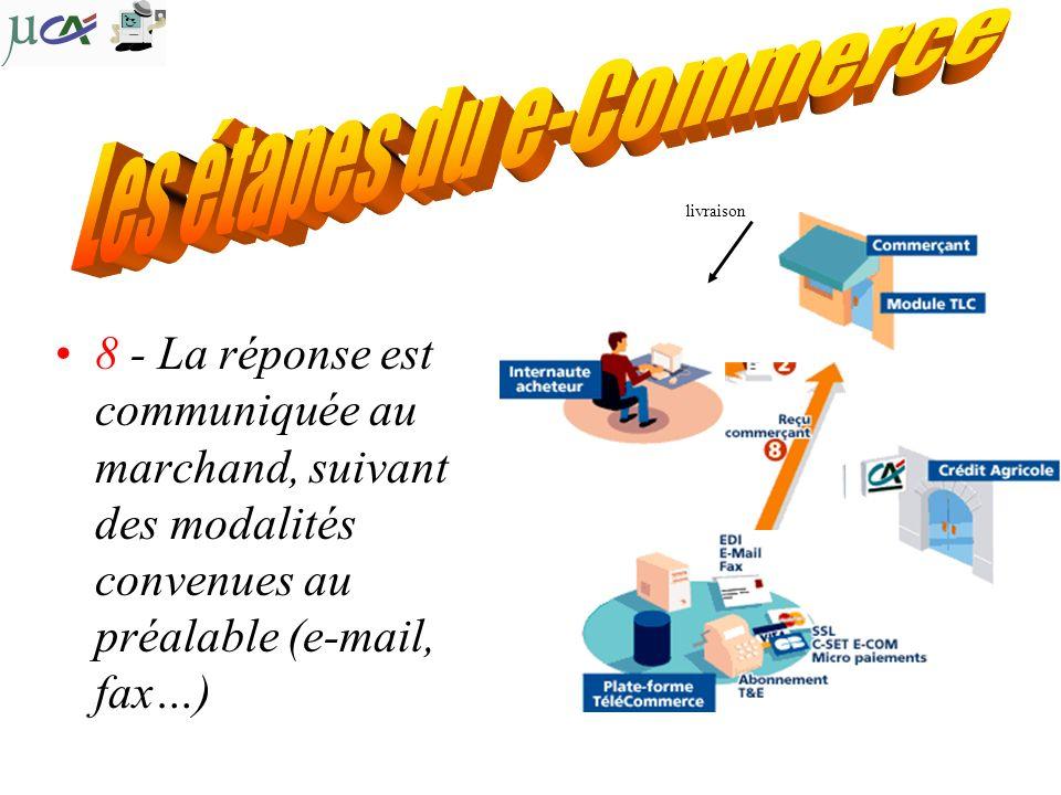 8 - La réponse est communiquée au marchand, suivant des modalités convenues au préalable (e-mail, fax…) livraison