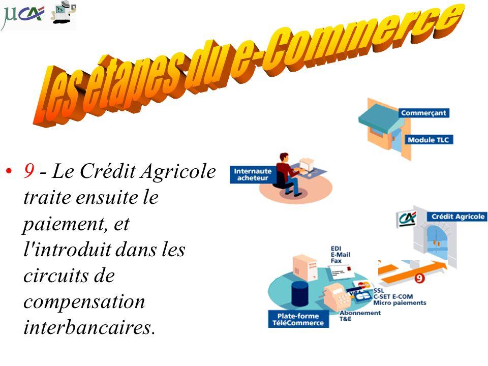 9 - Le Crédit Agricole traite ensuite le paiement, et l introduit dans les circuits de compensation interbancaires.