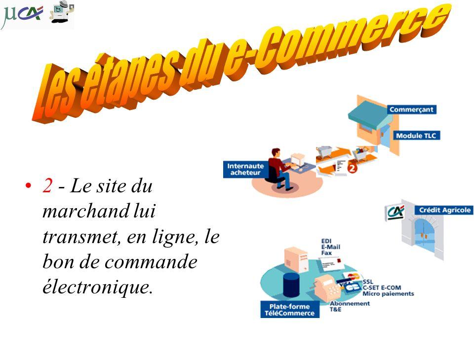 2 - Le site du marchand lui transmet, en ligne, le bon de commande électronique.