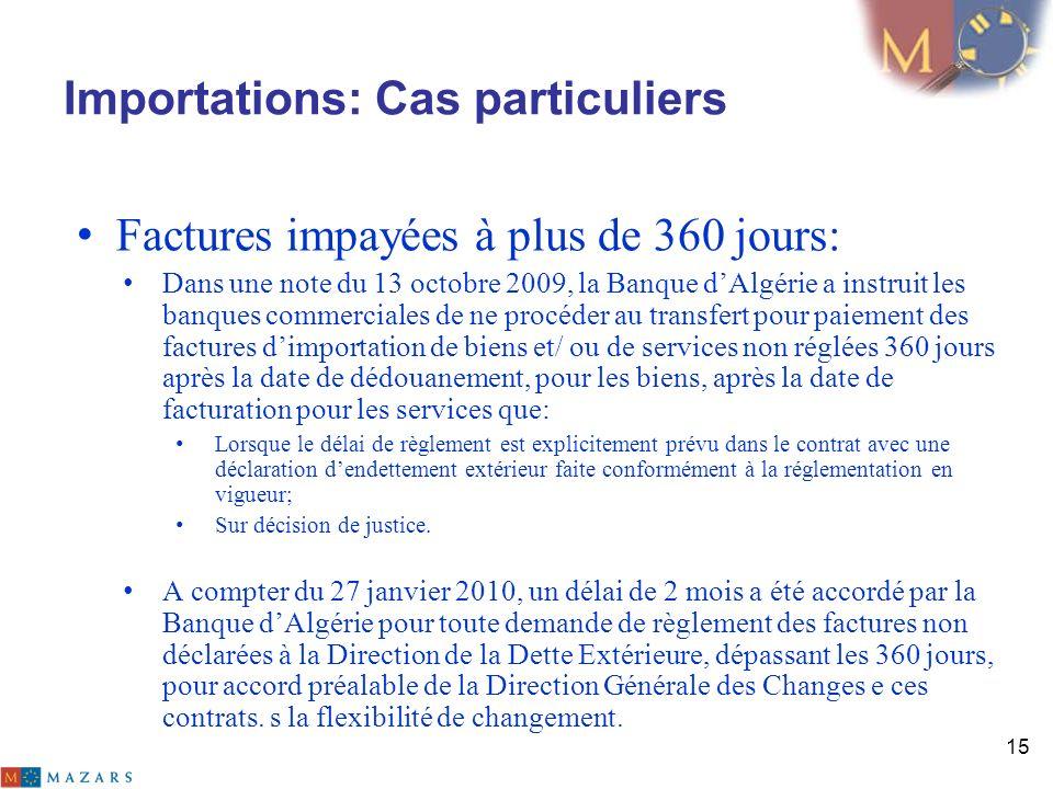 Importations: Cas particuliers Factures impayées à plus de 360 jours: Dans une note du 13 octobre 2009, la Banque dAlgérie a instruit les banques comm