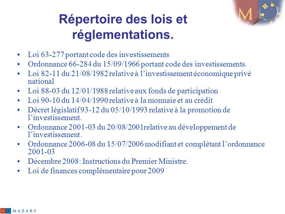 Répertoire des lois et réglementations. Loi 63-277 portant code des investissements Ordonnance 66-284 du 15/09/1966 portant code des investissements.