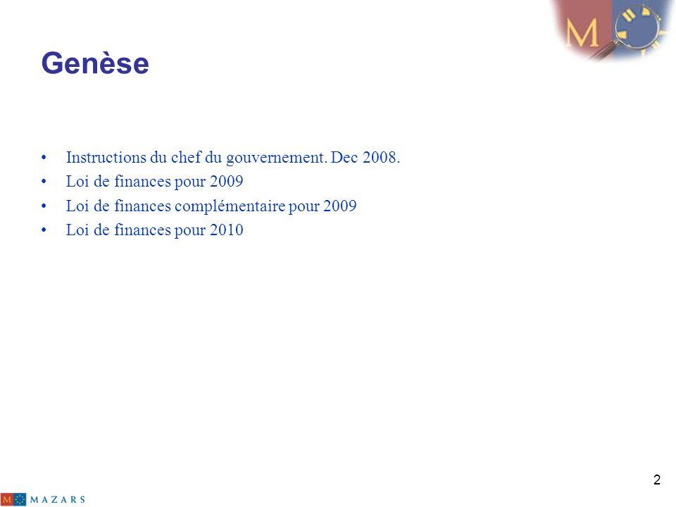 2 Genèse Instructions du chef du gouvernement. Dec 2008. Loi de finances pour 2009 Loi de finances complémentaire pour 2009 Loi de finances pour 2010