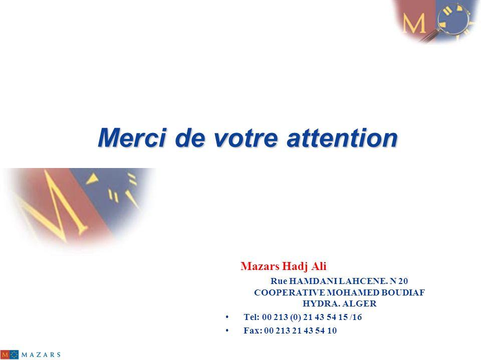 Merci de votre attention Mazars Hadj Ali Rue HAMDANI LAHCENE. N 20 COOPERATIVE MOHAMED BOUDIAF HYDRA. ALGER Tel: 00 213 (0) 21 43 54 15 /16 Fax: 00 21