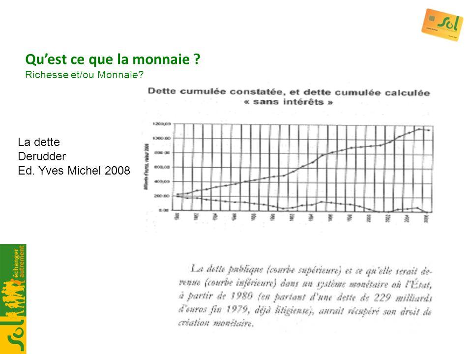 La dette Derudder Ed. Yves Michel 2008 Quest ce que la monnaie ? Richesse et/ou Monnaie?