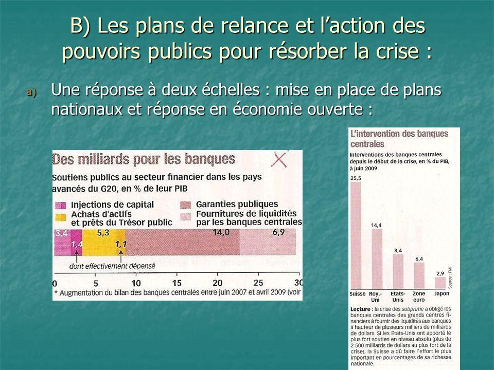 B) Les plans de relance et laction des pouvoirs publics pour résorber la crise : a) Une réponse à deux échelles : mise en place de plans nationaux et