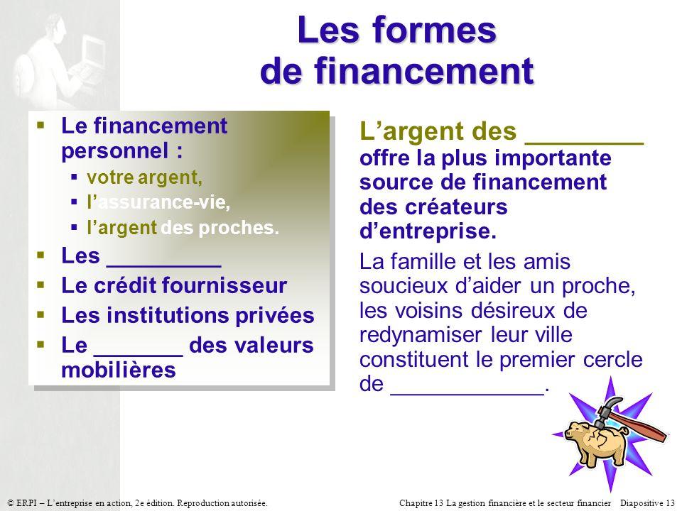 Chapitre 13 La gestion financière et le secteur financier Diapositive 13 © ERPI – Lentreprise en action, 2e édition. Reproduction autorisée. Les forme