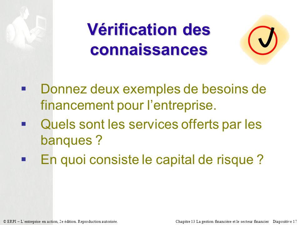 Chapitre 13 La gestion financière et le secteur financier Diapositive 17 © ERPI – Lentreprise en action, 2e édition. Reproduction autorisée. Vérificat