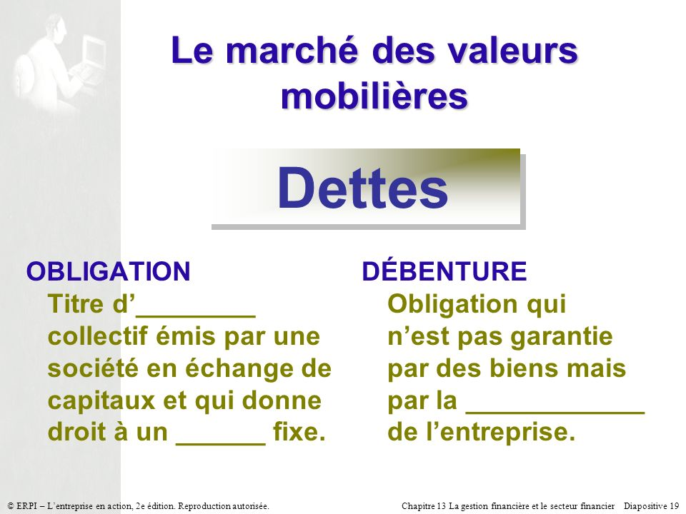 Chapitre 13 La gestion financière et le secteur financier Diapositive 19 © ERPI – Lentreprise en action, 2e édition. Reproduction autorisée. Le marché