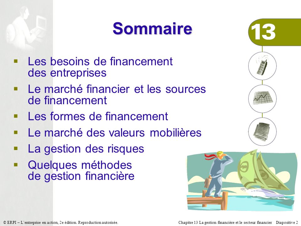 Chapitre 13 La gestion financière et le secteur financier Diapositive 2 © ERPI – Lentreprise en action, 2e édition. Reproduction autorisée. Sommaire L