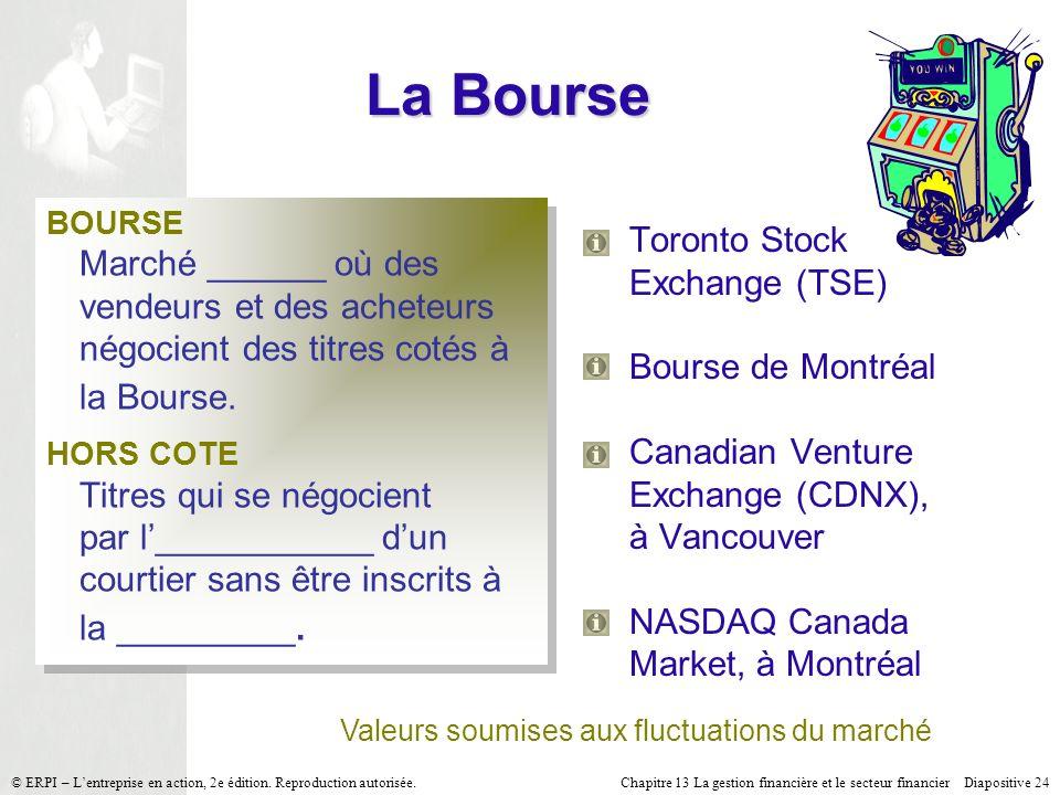Chapitre 13 La gestion financière et le secteur financier Diapositive 24 © ERPI – Lentreprise en action, 2e édition. Reproduction autorisée. La Bourse