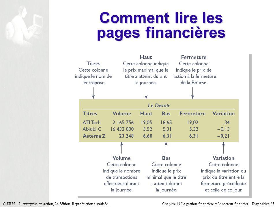 Chapitre 13 La gestion financière et le secteur financier Diapositive 25 © ERPI – Lentreprise en action, 2e édition. Reproduction autorisée. Comment l