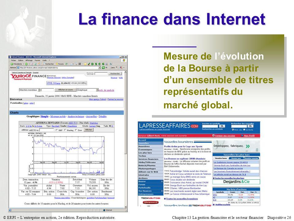 Chapitre 13 La gestion financière et le secteur financier Diapositive 26 © ERPI – Lentreprise en action, 2e édition. Reproduction autorisée. La financ