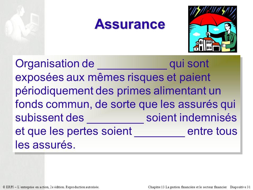 Chapitre 13 La gestion financière et le secteur financier Diapositive 31 © ERPI – Lentreprise en action, 2e édition. Reproduction autorisée. Assurance