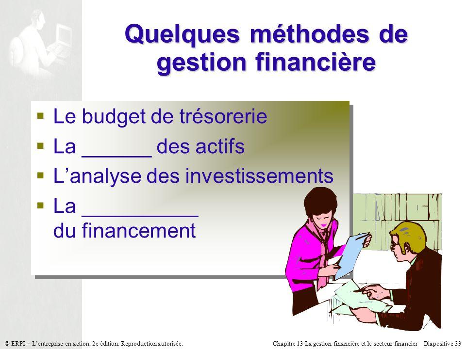 Chapitre 13 La gestion financière et le secteur financier Diapositive 33 © ERPI – Lentreprise en action, 2e édition. Reproduction autorisée. Quelques