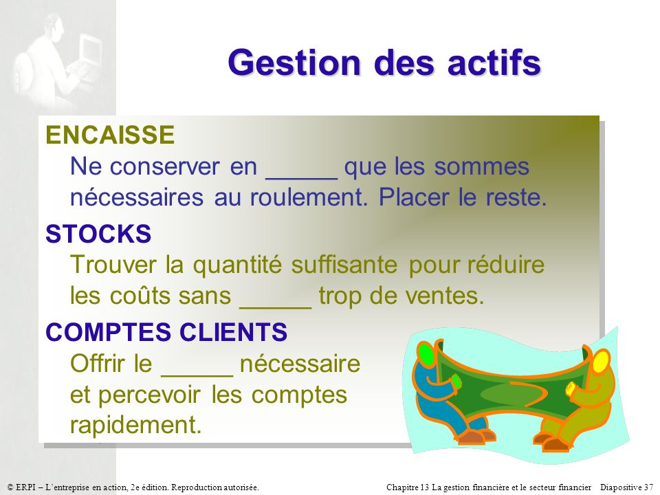 Chapitre 13 La gestion financière et le secteur financier Diapositive 37 © ERPI – Lentreprise en action, 2e édition. Reproduction autorisée. Gestion d