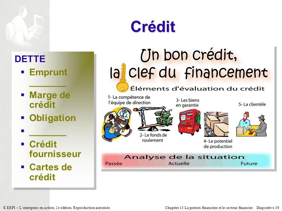 Chapitre 13 La gestion financière et le secteur financier Diapositive 39 © ERPI – Lentreprise en action, 2e édition. Reproduction autorisée. Crédit DE