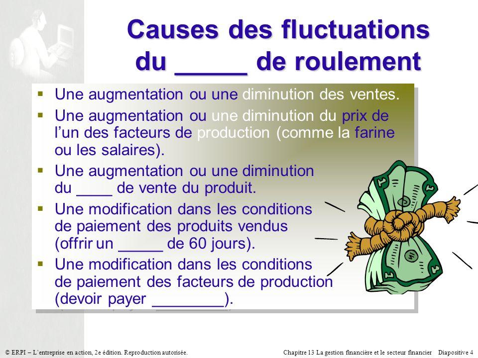 Chapitre 13 La gestion financière et le secteur financier Diapositive 25 © ERPI – Lentreprise en action, 2e édition.