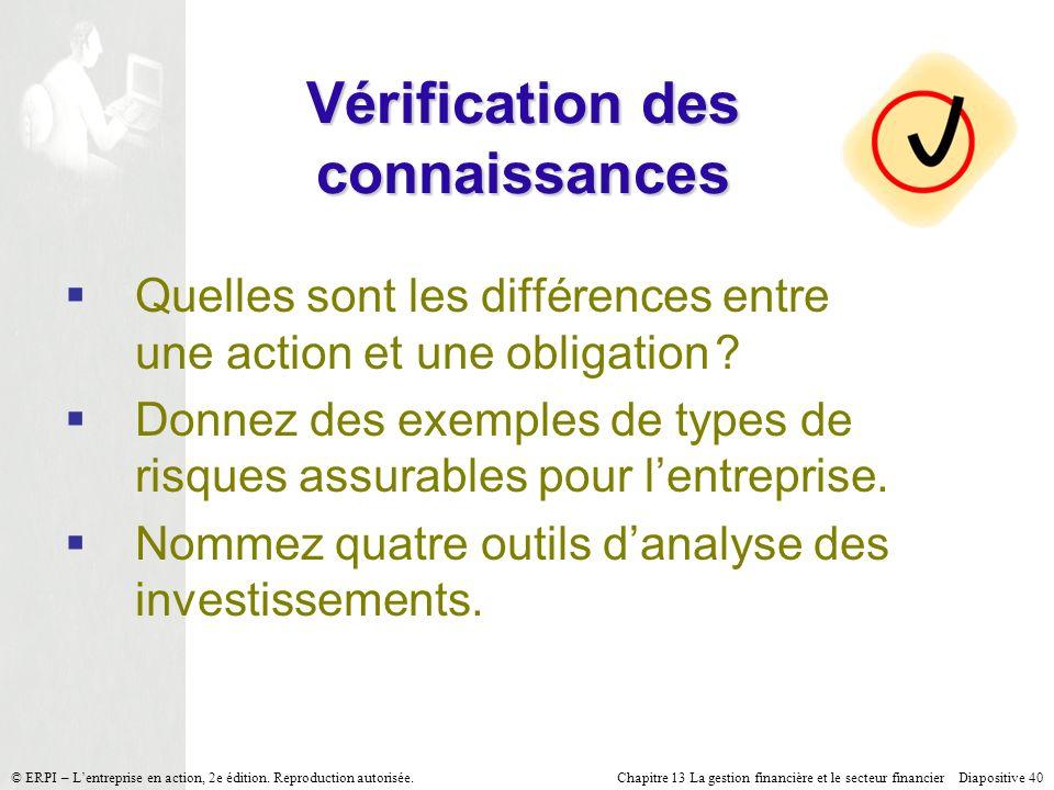 Chapitre 13 La gestion financière et le secteur financier Diapositive 40 © ERPI – Lentreprise en action, 2e édition. Reproduction autorisée. Vérificat