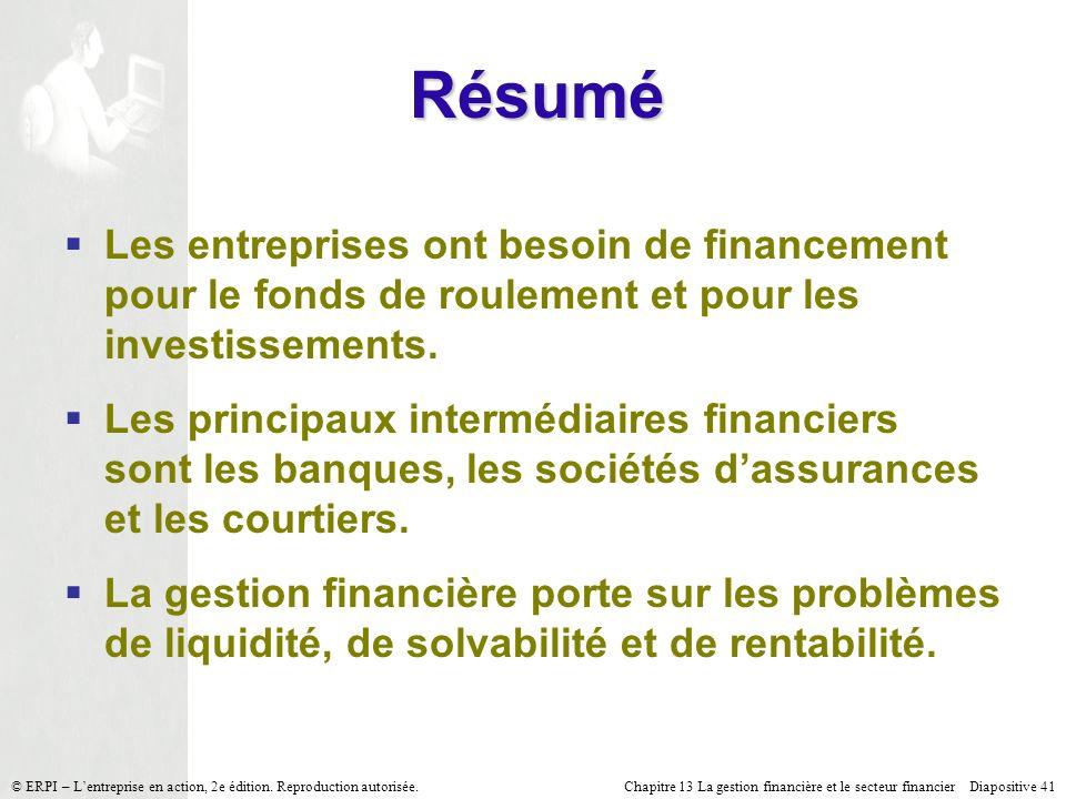 Chapitre 13 La gestion financière et le secteur financier Diapositive 41 © ERPI – Lentreprise en action, 2e édition. Reproduction autorisée. Les entre