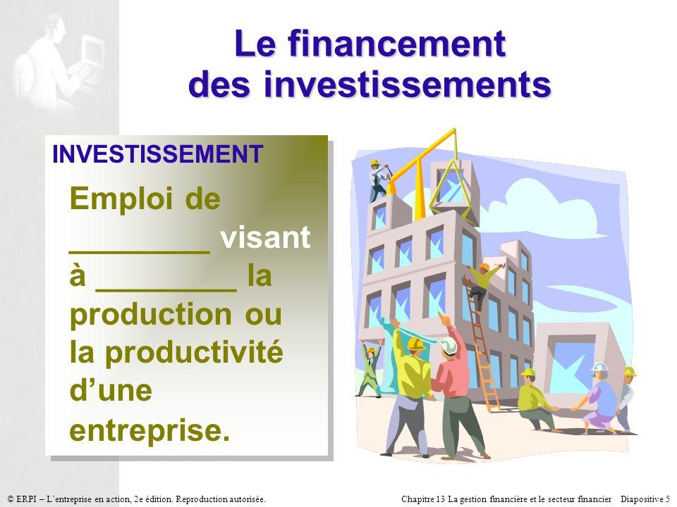 Chapitre 13 La gestion financière et le secteur financier Diapositive 5 © ERPI – Lentreprise en action, 2e édition. Reproduction autorisée. Le finance