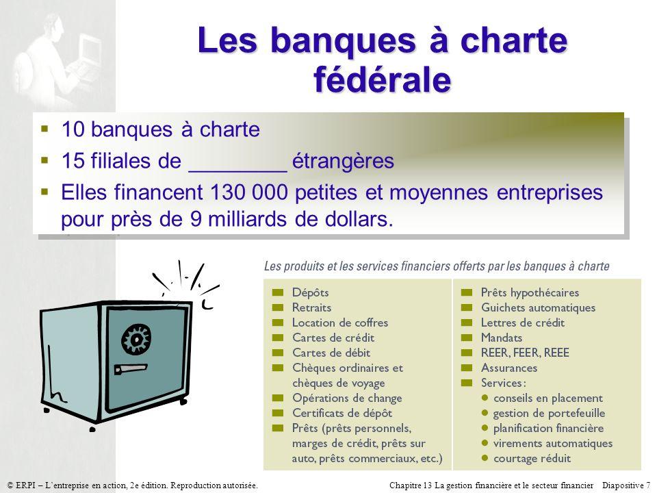 Chapitre 13 La gestion financière et le secteur financier Diapositive 7 © ERPI – Lentreprise en action, 2e édition. Reproduction autorisée. Les banque