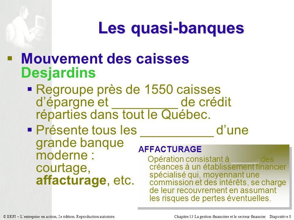 Chapitre 13 La gestion financière et le secteur financier Diapositive 39 © ERPI – Lentreprise en action, 2e édition.