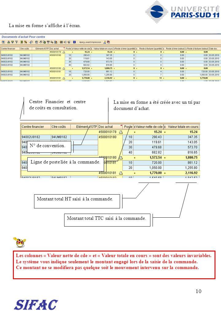 10 SIFAC La mise en forme saffiche à lécran. La mise en forme a été créée avec un tri par document dachat. Centre Financier et centre de coûts en cons