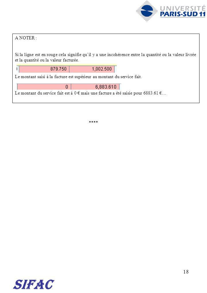 18 SIFAC A NOTER : Si la ligne est en rouge cela signifie quil y a une incohérence entre la quantité ou la valeur livrée et la quantité ou la valeur f