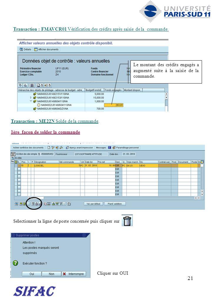21 SIFAC Transaction : FMAVCR01 Vérification des crédits après saisie de la commande. Le montant des crédits engagés a augmenté suite à la saisie de l