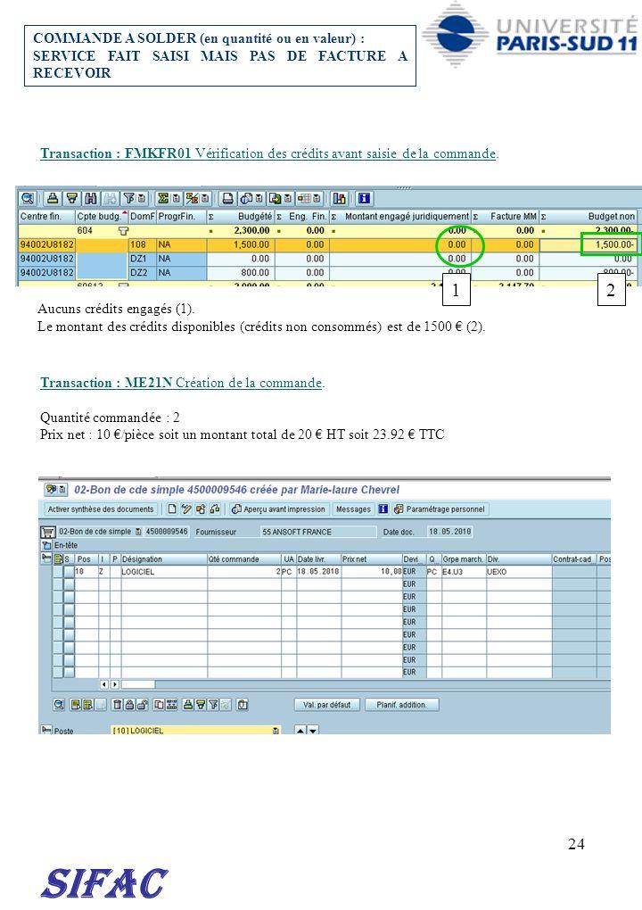 24 Transaction : FMKFR01 Vérification des crédits avant saisie de la commande. Transaction : ME21N Création de la commande. Quantité commandée : 2 Pri