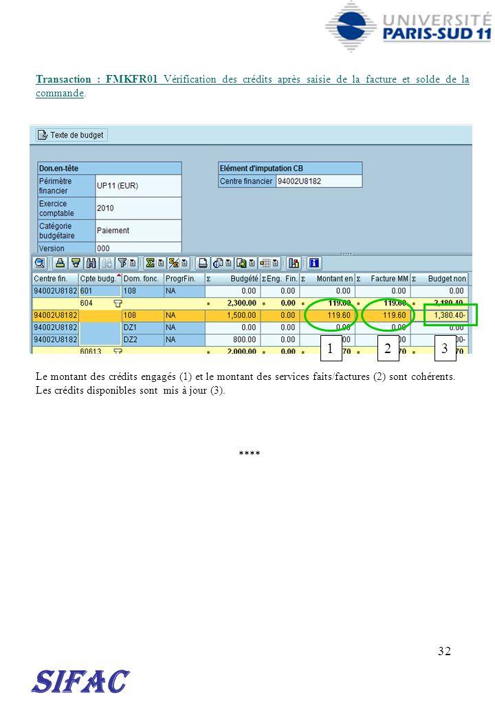 32 Transaction : FMKFR01 Vérification des crédits après saisie de la facture et solde de la commande. SIFAC **** Le montant des crédits engagés (1) et
