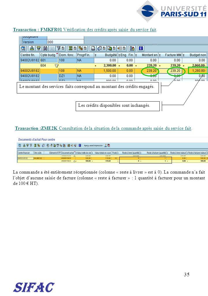 35 SIFAC Transaction : FMKFR01 Vérification des crédits après saisie du service fait. Transaction :ZME2K Consultation de la situation de la commande a