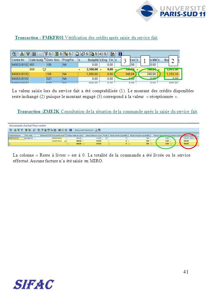 41 SIFAC Transaction : FMKFR01 Vérification des crédits après saisie du service fait. Transaction :ZME2K Consultation de la situation de la commande a