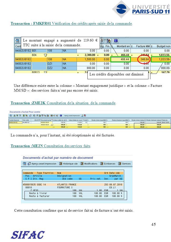 45 Transaction : FMKFR01 Vérification des crédits après saisie de la commande. Transaction :ZME2K Consultation de la situation de la commande. SIFAC L