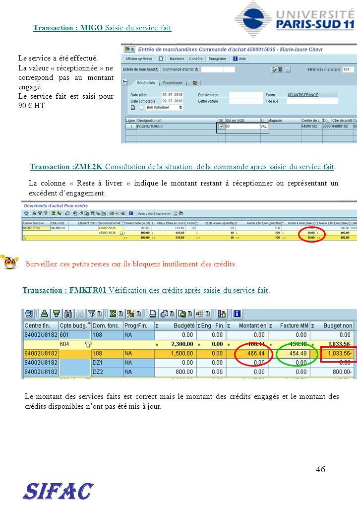 46 SIFAC Transaction : MIGO Saisie du service fait. Le service a été effectué. La valeur « réceptionnée » ne correspond pas au montant engagé. Le serv