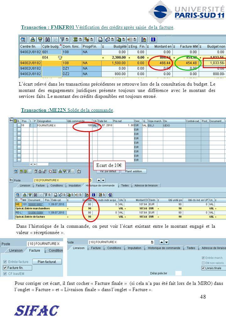 48 SIFAC Transaction : FMKFR01 Vérification des crédits après saisie de la facture. Lécart relevé dans les transactions précédentes se retrouve lors d