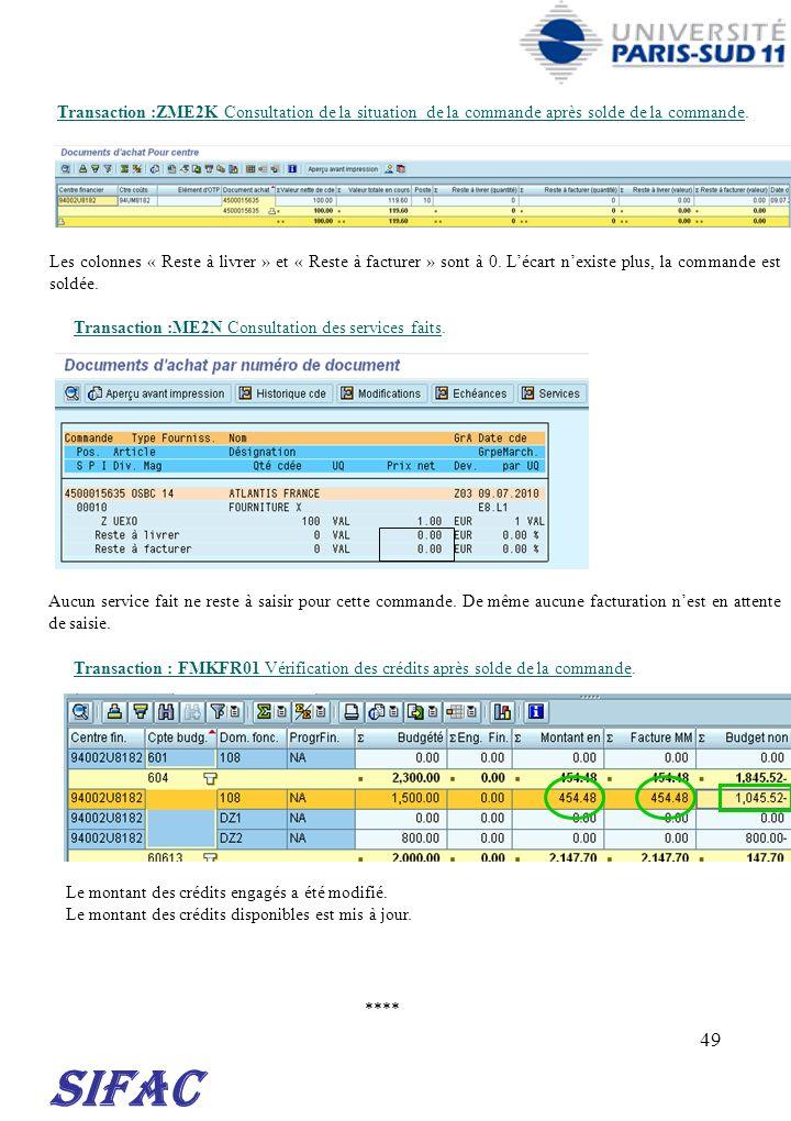 49 **** SIFAC Transaction :ZME2K Consultation de la situation de la commande après solde de la commande. Les colonnes « Reste à livrer » et « Reste à