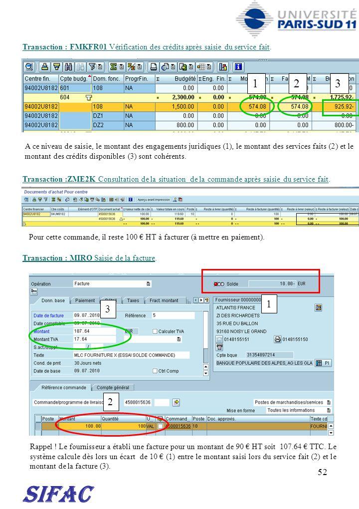 52 SIFAC Transaction : FMKFR01 Vérification des crédits après saisie du service fait. Transaction :ZME2K Consultation de la situation de la commande a