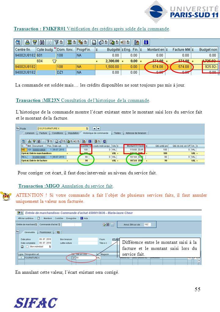 55 SIFAC Transaction : FMKFR01 Vérification des crédits après solde de la commande. La commande est soldée mais… les crédits disponibles ne sont toujo