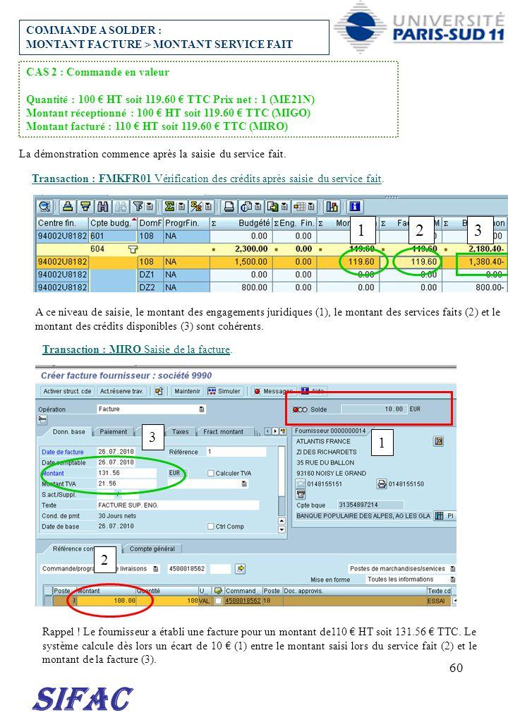 60 SIFAC COMMANDE A SOLDER : MONTANT FACTURE > MONTANT SERVICE FAIT CAS 2 : Commande en valeur Quantité : 100 HT soit 119.60 TTC Prix net : 1 (ME21N)