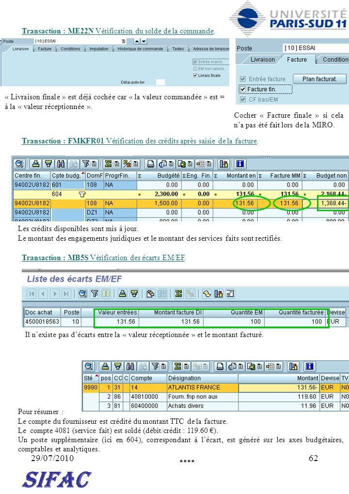 29/07/201062 SIFAC Transaction : FMKFR01 Vérification des crédits après saisie de la facture. Cocher « Facture finale » si cela na pas été fait lors d