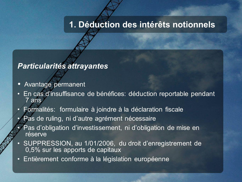 1. Déduction des intérêts notionnels Particularités attrayantes Avantage permanent En cas dinsuffisance de bénéfices: déduction reportable pendant 7 a