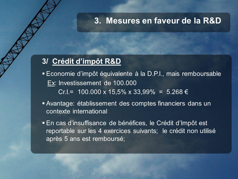 3/ Crédit dimpôt R&D Economie dimpôt équivalente à la D.P.I., mais remboursable Ex: Investissement de 100.000 Cr.I.= 100.000 x 15,5% x 33,99% = 5.268