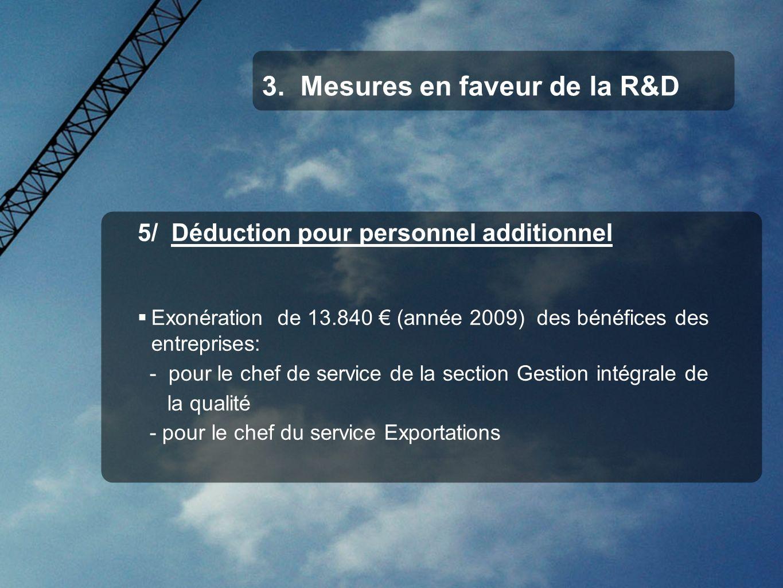 5/ Déduction pour personnel additionnel Exonération de 13.840 (année 2009) des bénéfices des entreprises: - pour le chef de service de la section Gest