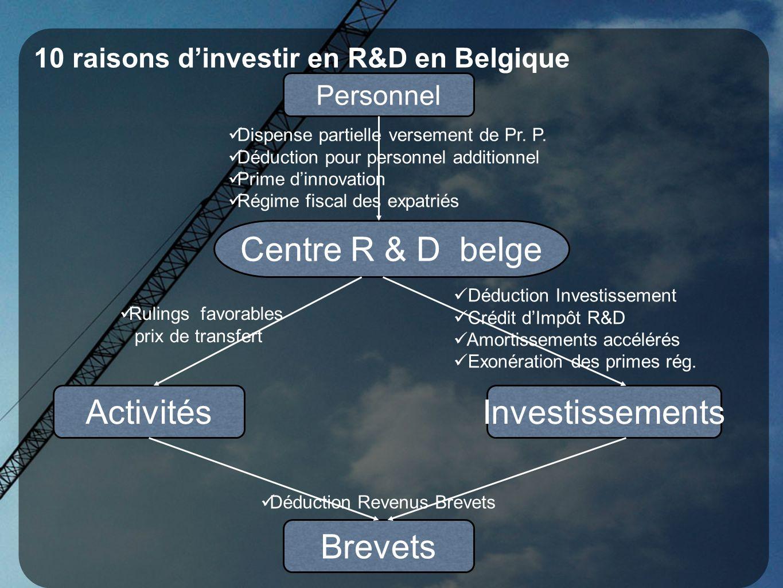 10 raisons dinvestir en R&D en Belgique Personnel Dispense partielle versement de Pr. P. Déduction pour personnel additionnel Prime dinnovation Régime