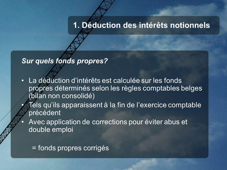 1. Déduction des intérêts notionnels Sur quels fonds propres? La déduction dintérêts est calculée sur les fonds propres déterminés selon les règles co