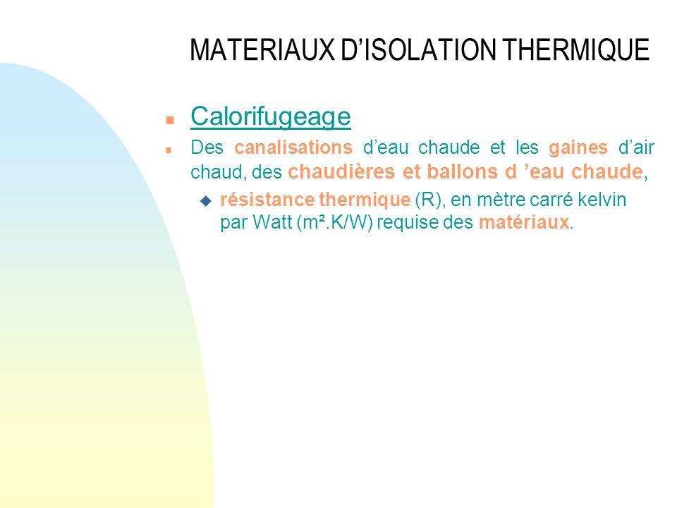 MATERIAUX DISOLATION THERMIQUE n Calorifugeage n Des canalisations deau chaude et les gaines dair chaud, des chaudières et ballons d eau chaude, u rés