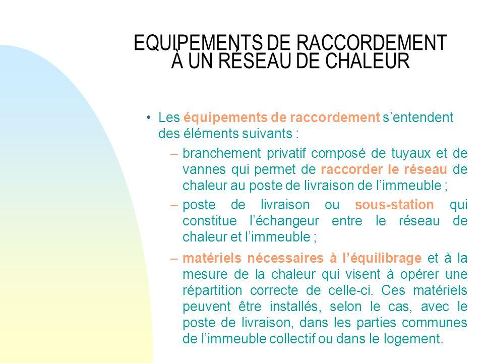 EQUIPEMENTS DE RACCORDEMENT À UN RÉSEAU DE CHALEUR Les équipements de raccordement sentendent des éléments suivants : –branchement privatif composé de